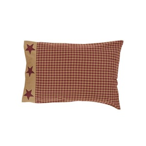 Ninepatch Star Pillow Cases with Applique Border - Set of 2