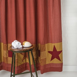Ninepatch Star Shower Curtain with Patchwork Borders