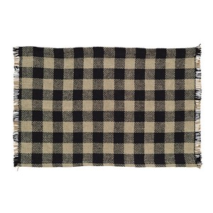 Burlap Black Check Fringed Placemats - Set of 6