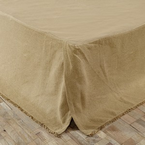 Natural Burlap Fringed Bed Skirts