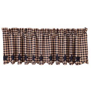 Navy Star Scalloped Valance
