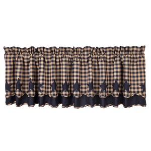 Navy Star Scalloped Layered Valance