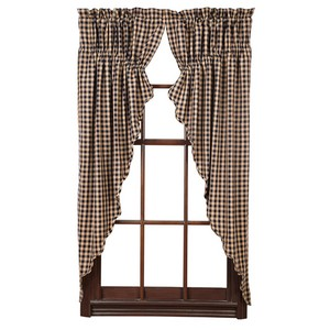Navy Check Scalloped Prairie Curtains