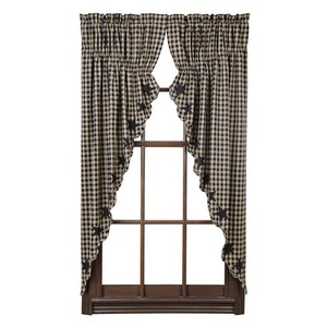 Black Star Scalloped Prairie Curtains