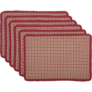 Jonathan Plaid Ruffled Placemats -  Set of 6
