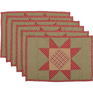 Dolly Star Quilted Placemats -  Set of 6