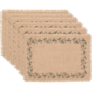 Jute Burlap Ivy Placemat Set of 6 12x18
