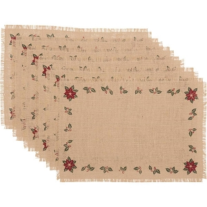 Jute Burlap Poinsettia Placemats - Set of 6