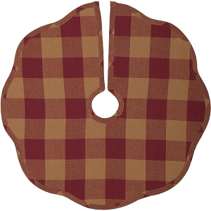 Burgundy Check Scalloped Tree Skirt