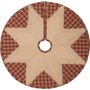 Burgundy Check Star Tree Skirt