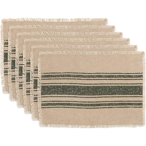 Vintage Burlap Stripe Placemats - Set of 6 - Green or Red