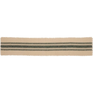 Vintage Burlap Stripe Runner - Green or Red