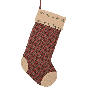 Jute Burlap Poinsettia Stocking 12x20
