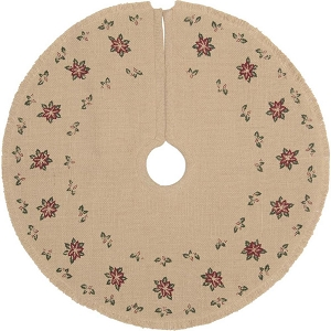 Jute Burlap Poinsettia Mini Tree Skirt - 21 Inches