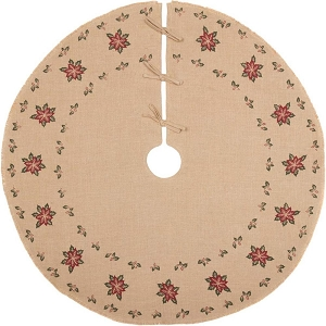 Jute Burlap Poinsettia Tree Skirt -  48 inches
