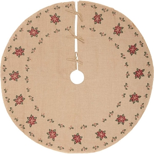 Jute Burlap Poinsettia Tree Skirt 55
