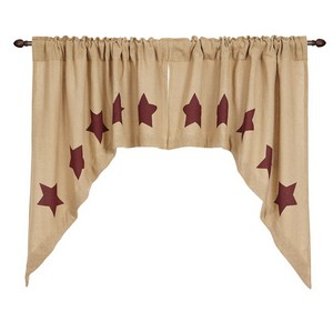 Burlap with Burgundy Stencil Stars Swag - Set of 2
