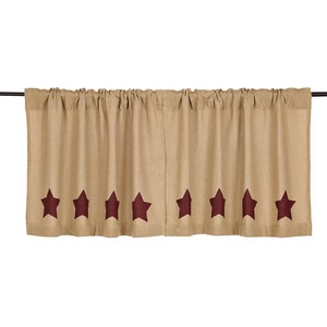Burlap with Burgundy Stencil Stars 24'' Tiers - Set of 2