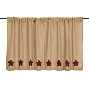 Burlap with Burgundy Stencil Stars 36'' Tiers - Set of 2
