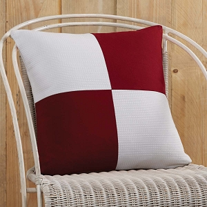 Red and White Patchwork Pillow Cover