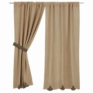 Burlap with Black Check Curtains