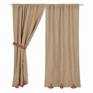 Burlap with Red Check Curtains