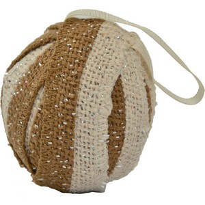 Shimmer Burlap Creme and Natural Christmas Ornament - Set of 6