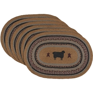 Heritage Farms Sheep Jute Placemats - Oval Set of 6