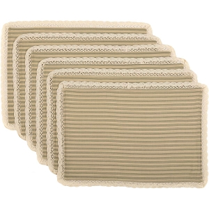 Kendra Stripe Green Placemats - Set of 6