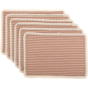 Kendra Stripe Red Placemats - Set of 6