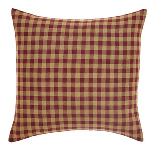 Burgundy Check Fabric Pillow 16 x 16
