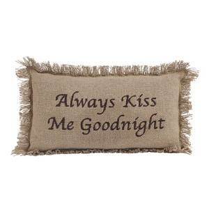 Burlap Natural Throw Pillow  - Always Kiss Me Goodnight