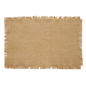 Burlap Natural Fringed Placemats - Set of 6