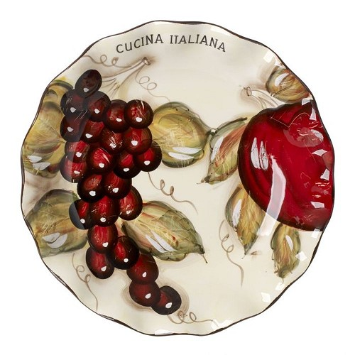 Cucina Italiana Ceramic Oval Scalloped Plate