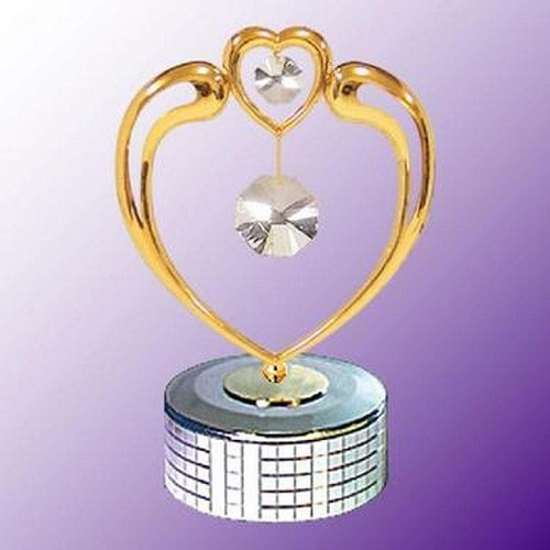 Crystal in Heart Mirror Base Music Box