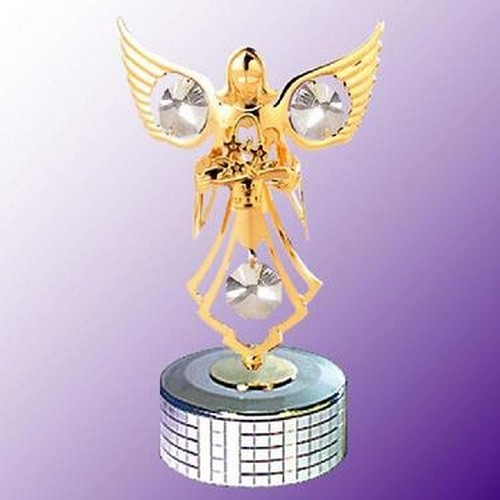 Angel With Flowers Mirror Base Music Box
