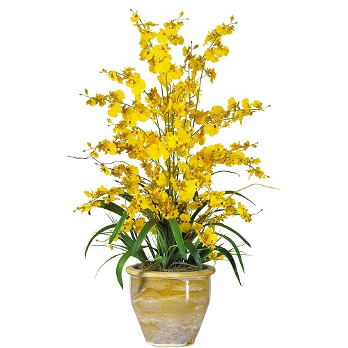 Triple Dancing Lady Yellow Silk Flower Arrangement
