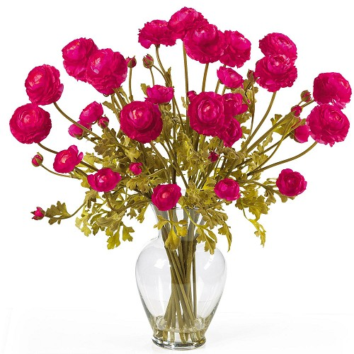 Beauty Ranunculus Liquid Illusion Silk Flower Arrangement