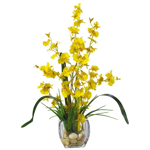 Yellow Dancing Lady Orchid Liquid Illusion Silk Flower Arrangement