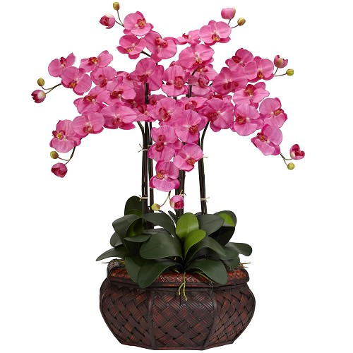 Large Phalaenopsis Dark Pink Silk Flower Arrangement