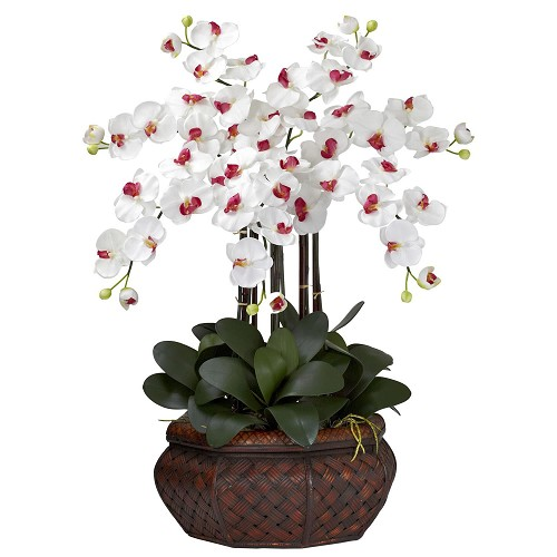 Large Phalaenopsis White Silk Flower Arrangement