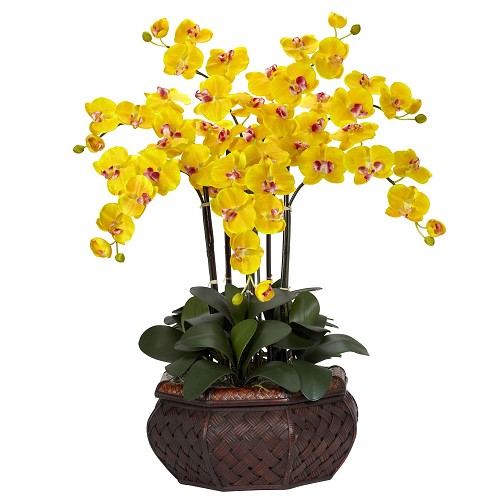 Large Phalaenopsis Yellow Silk Flower Arrangement