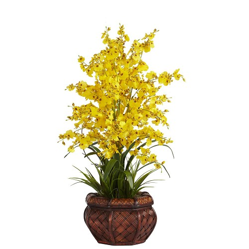 Dancing Lady Yellow Silk Flower Arrangement