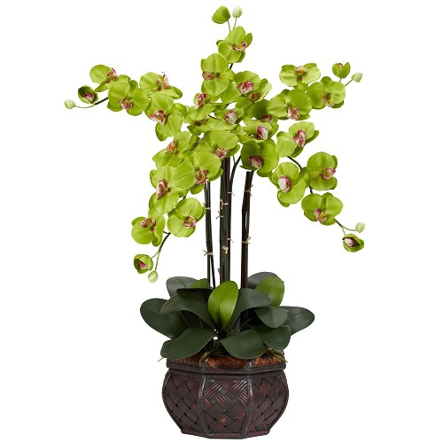 Phalaenopsis w/Decorative Vase Green Silk Flower Arrangement