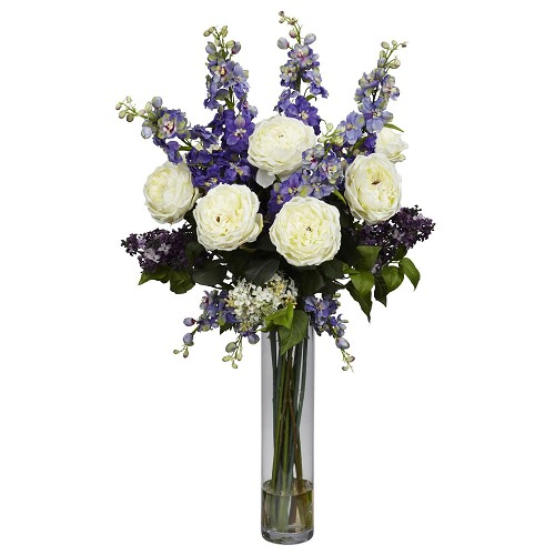 Purple Rose, Delphinium and Lilac Silk Flower Arrangement