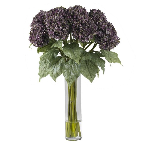 Purple Hydrangea Silk Flower Arrangement