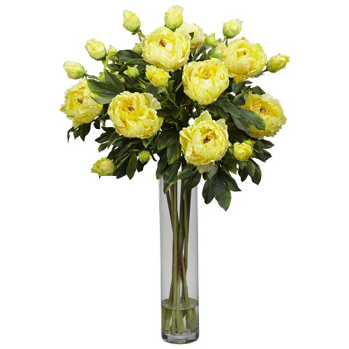 Yellow Peony w/Cylinder Silk Flower Arrangement
