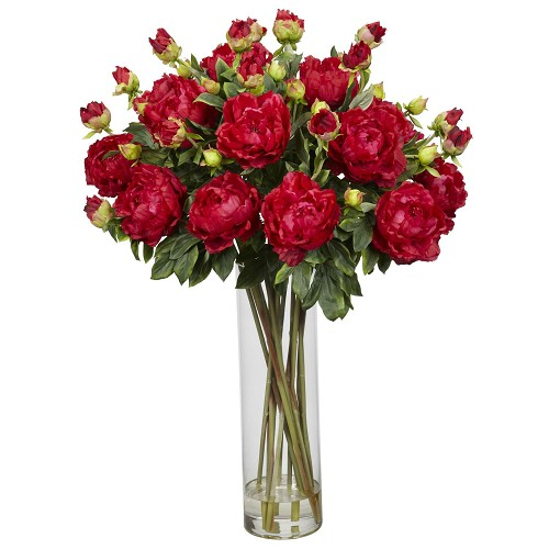 Red Giant Peony Silk Flower Arrangement