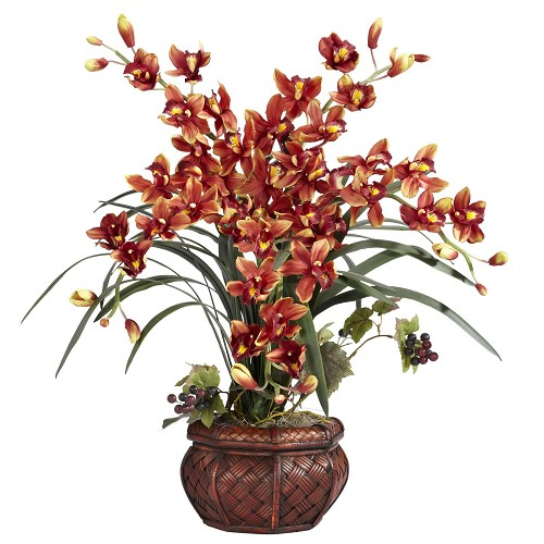 Brown Cymbidium w/Decorative Vase Silk Arrangement