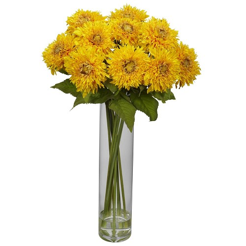 Yellow Sunflower w/Cylinder Silk Flower Arrangement